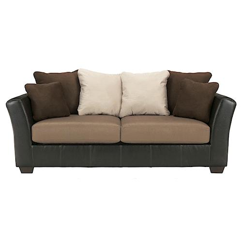 Ashley/Benchcraft Masoli - Mocha Faux Leather/Fabric Sofa with Loose Back Pillows
