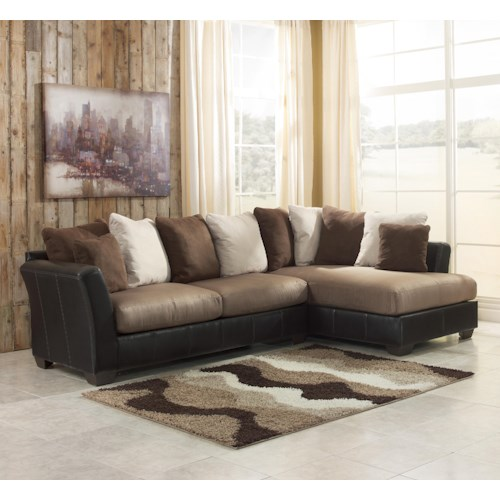 Ashley/Benchcraft Masoli - Mocha 2-Piece Sectional with Right Chaise