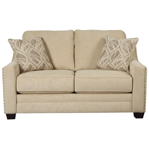 Ashley Mauricio Loveseat with Coil Seat Cushions & Track Arms with Nailheads