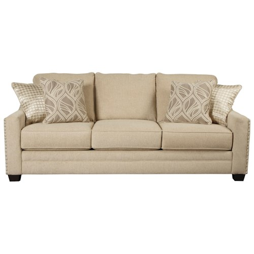 Ashley/Benchcraft Mauricio Sofa with Coil Seat Cushions & Track Arms with Nailheads