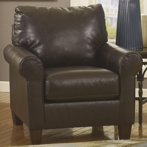Ashley Nastas DuraBlend - Bark Casual Roll Arm Chair w/ Tapered Legs
