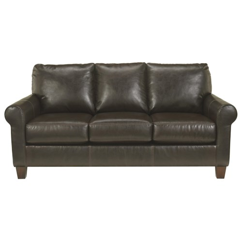 Benchcraft Nastas DuraBlend - Bark Casual Bonded Leather Sofa w/ Roll Arms