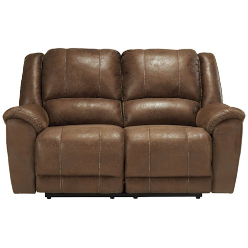 Benchcraft Niarobi Contemporary Faux Leather Reclining Loveseat