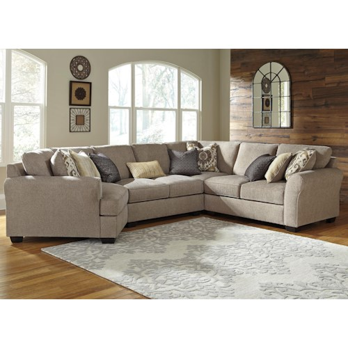 Benchcraft Pantomine 4-Piece Sectional with Left Cuddler