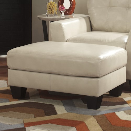 Ashley Paulie DuraBlend® - Taupe Contemporary Ottoman with Exposed Tapered Wood Legs