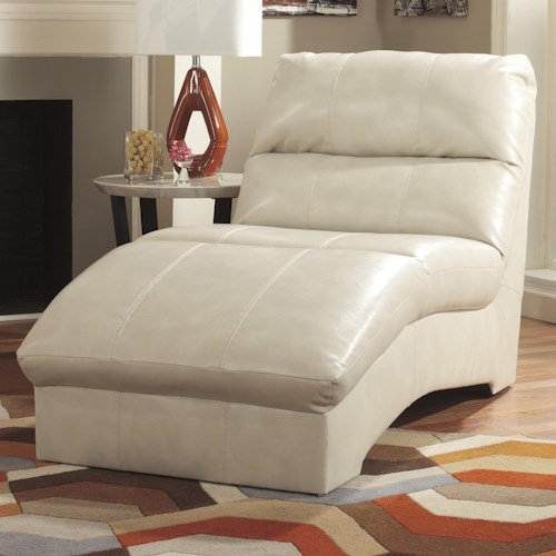 Benchcraft Paulie DuraBlend® - Taupe Contemporary Chaise with Bonded Leather Upholstery