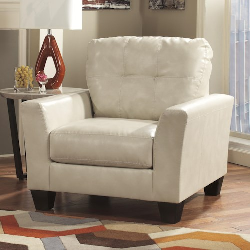 Ashley Paulie DuraBlend® - Taupe Contemporary Chair with Tufted Detailing