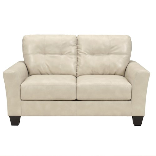Ashley Paulie DuraBlend® - Taupe Contemporary Love Seat with Tufted Detailing