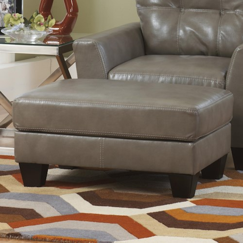Ashley Paulie DuraBlend® - Quarry Contemporary Ottoman with Exposed Tapered Wood Legs
