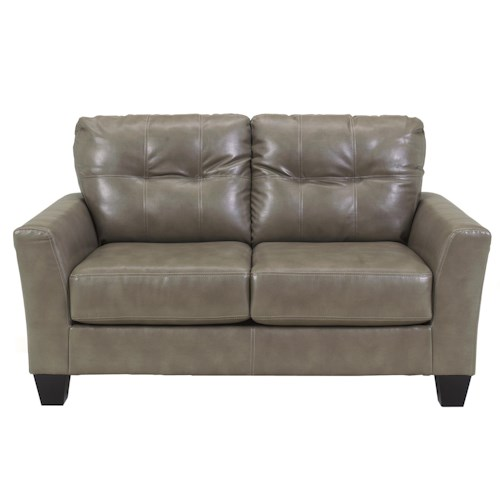 Ashley Paulie DuraBlend® - Quarry Contemporary Love Seat with Tufted Detailing