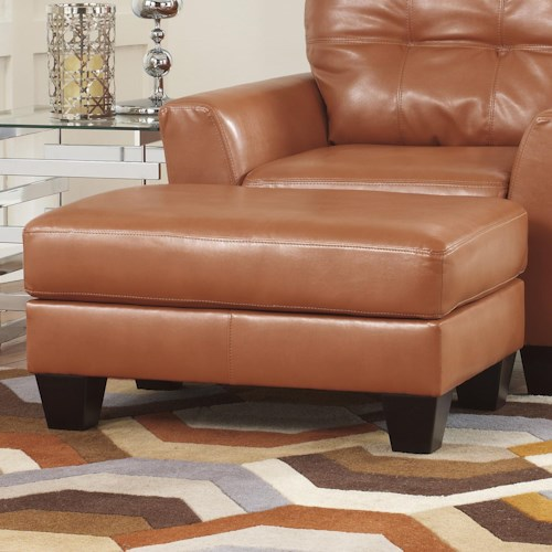 Ashley Paulie DuraBlend® - Orange Contemporary Ottoman with Exposed Tapered Wood Legs