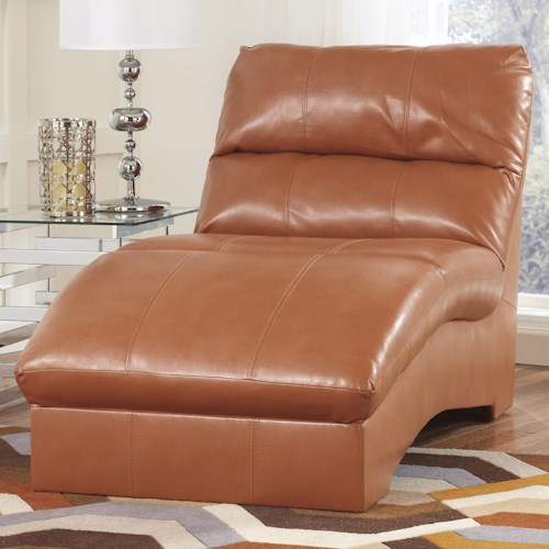 Ashley Paulie DuraBlend® - Orange Contemporary Chaise with Bonded Leather Upholstery
