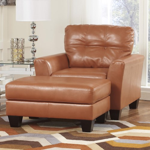 Ashley Paulie DuraBlend® - Orange Contemporary Chair and Ottoman in Bonded Leather Upholstery