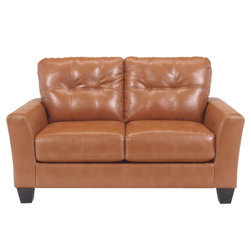 Ashley Paulie DuraBlend® - Orange Contemporary Love Seat with Tufted Detailing