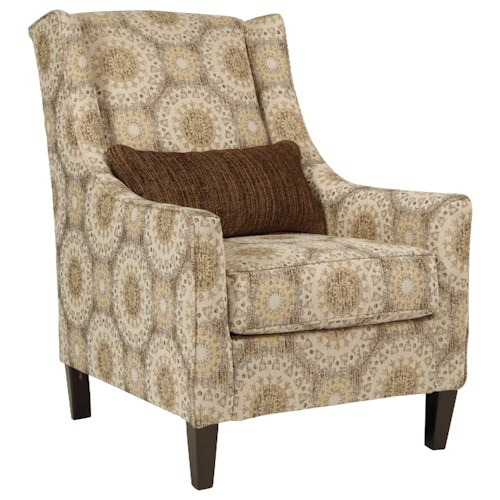Benchcraft Quarry Hill Wing Back Accent Chair with Lumbar Pillow