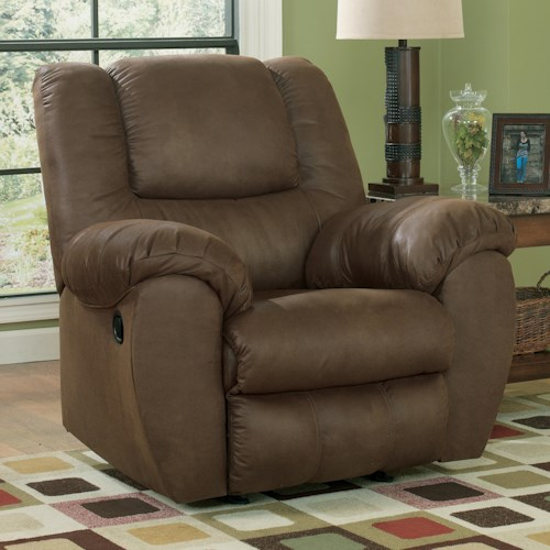 Benchcraft Quarterback - Canyon Rocker Recliner in Brown Faux Leather
