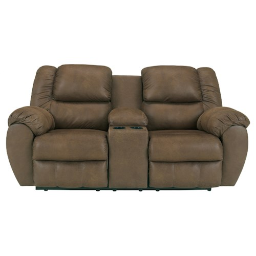 Ashley Quarterback - Canyon Reclining Loveseat w/ Console