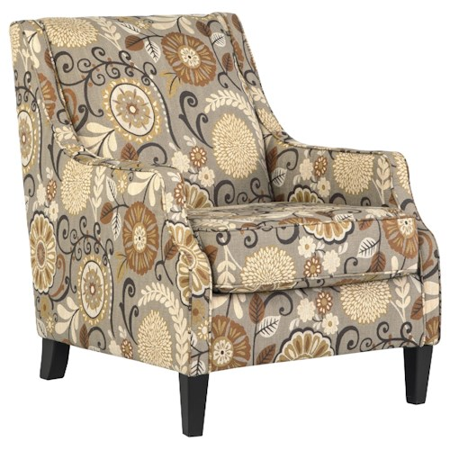 Benchcraft Tailya Transitional Accent Chair with Floral Fabric