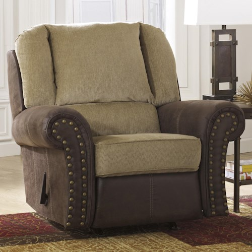 Benchcraft Vandive Two-Tone Rocker Recliner with Chenille Fabric/Faux Leather Upholstery