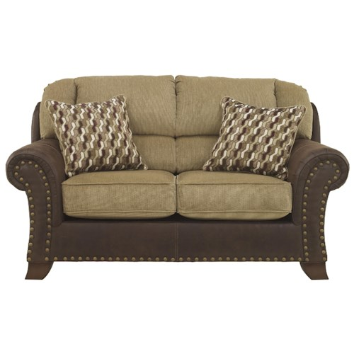 Benchcraft Vandive Two-Tone Loveseat with Chenille Fabric/Faux Leather Upholstery