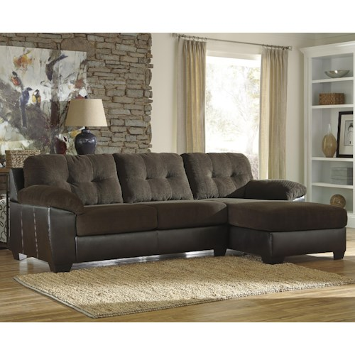Benchcraft Vanleer 2-Piece Fabric/Faux Leather Sectional with Right Chaise