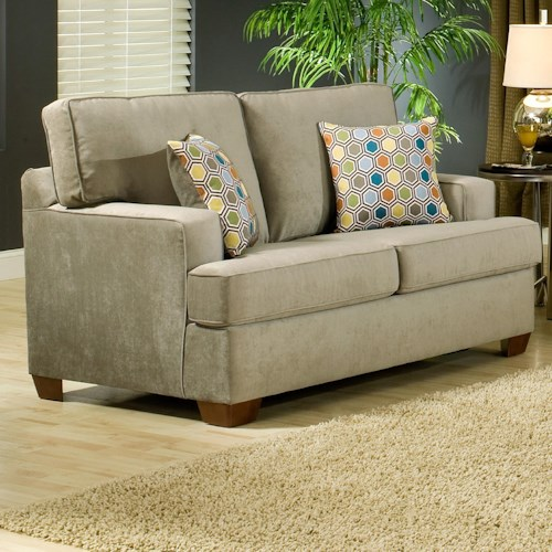 Belfort Essentials Daniel Love Seat with Track Arms and Wood Block Feet