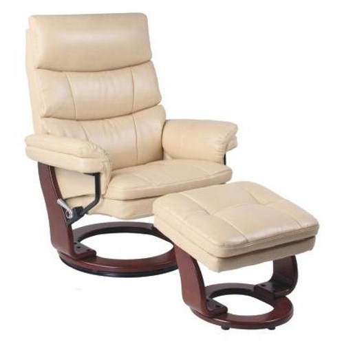 Benchmaster Classic Recliner with Adjustable Headrest and Matching Ottoman