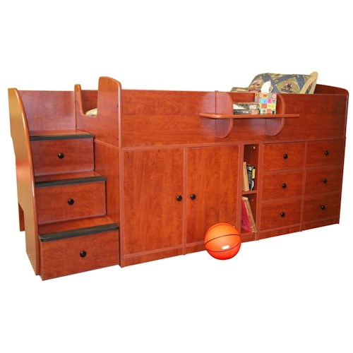 Berg Captain's Beds Twin Bed with Nine Drawers and Cabinet