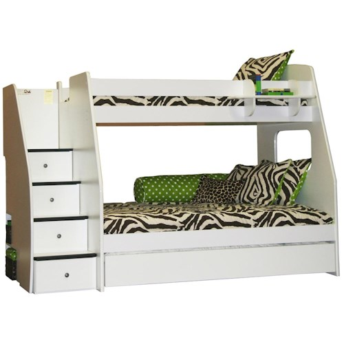 Berg Enterprise Twin Over Full Bunk Bed With Trundle and Hanging Shelf