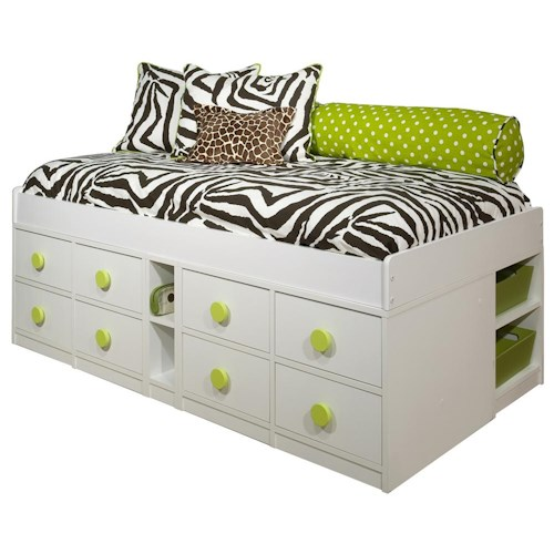 Berg Jr. Captain's Bed Twin Captain's Bed with Eight Drawers
