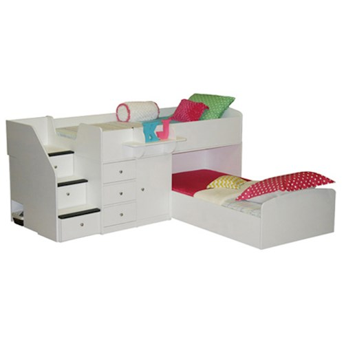 Berg Sierra Twin over Twin Bunk Bed with Hideaway Desk