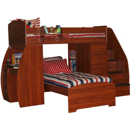Berg Space Saver Twin Over Twin Bunk Bed with Desk & Chest