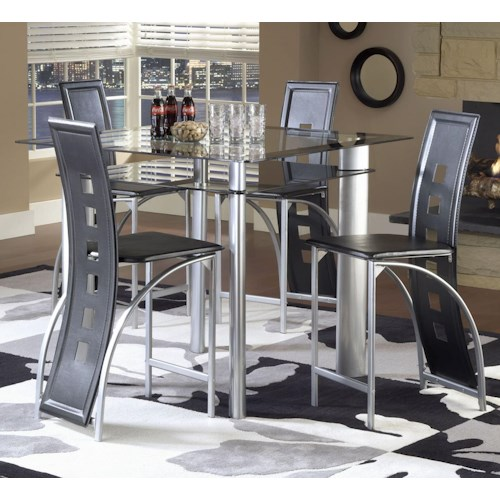 Bernards Astro Contemporary 5-Piece Smoked Glass Top Counter Height Dinette Set with Black Vinyl Chairs