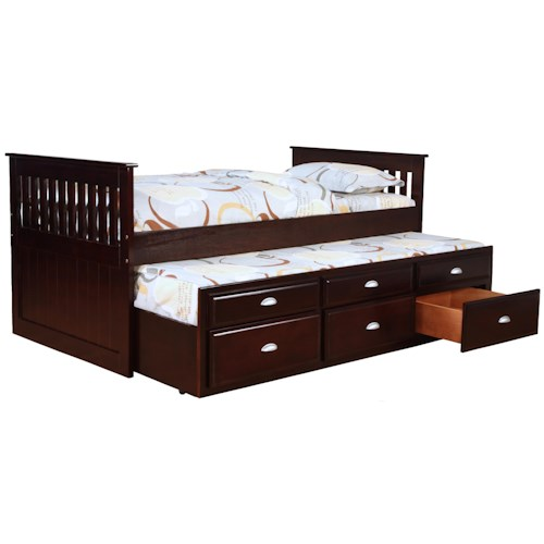 Bernards Jayden Captain's Bed with Trundle and Storage