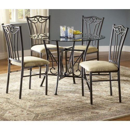 Bernards Heritage 5 Piece Metal Dinette with Glass Top