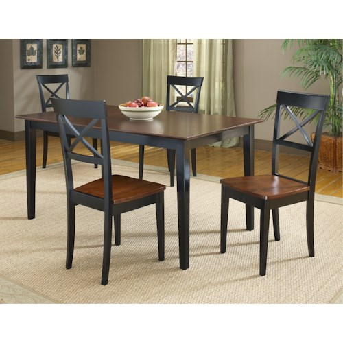 Morris Home Furnishings Jaguar 5-Piece Black/Merlot Dinette Table Set