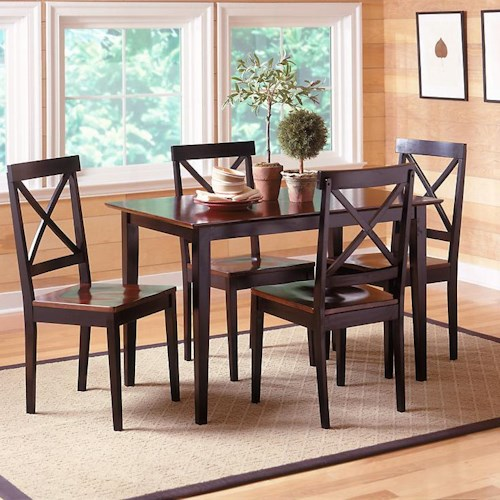 Bernards Jaguar 5 Piece Contemporary Merlot and Black Dinette
