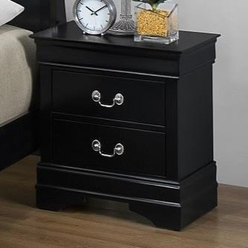 Bernards Jet Louis Philippe Night Stand with 2 Drawers in Black Paint Finish