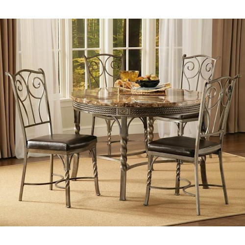 Morris Home Furnishings Madison 5-Piece Faux Marble/Metal Dinette Table Set