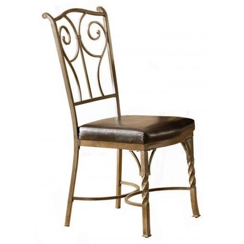 Bernards Madison Traditional Metal Side Chair with Vinyl Seat