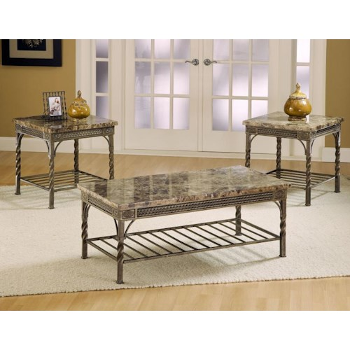 Morris Home Furnishings Madison Occasional Table Group with 1 Coffee Table and 2 Side Tables with Shelves