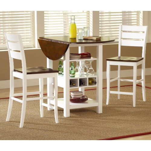 Morris Home Furnishings Ridgewood 3 Piece Drop Leaf Pub Table Set