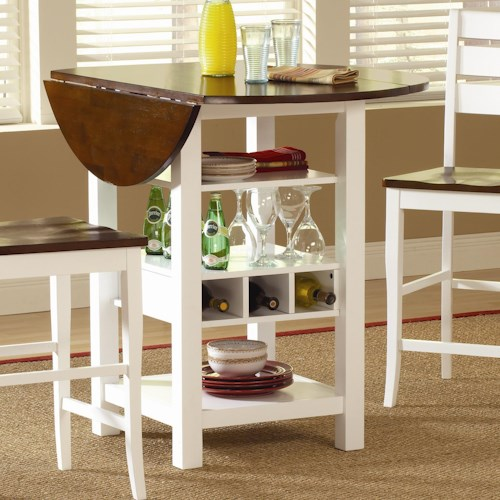 Morris Home Furnishings Ridgewood Drop Leaf Pub Table with Wine Rack