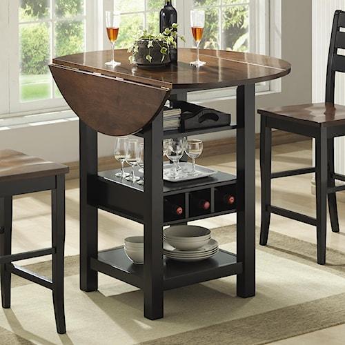 Morris Home Furnishings Ridgewood Drop Leaf Pub Table with Wine Rack
