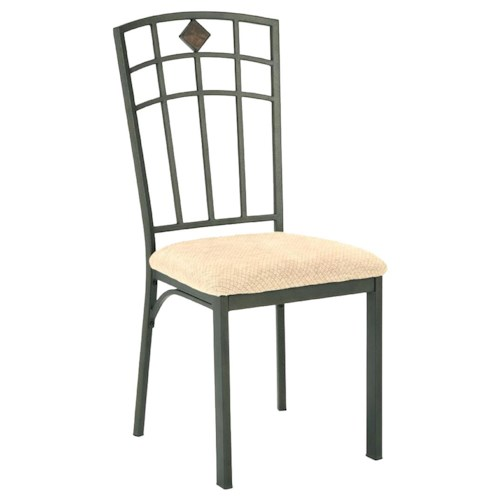 Morris Home Furnishings Roman Metal Side Chair with Upholstered Seat