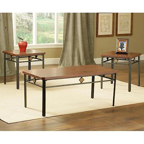 Morris Home Furnishings Roman Wood / Metal 3 Pack Table Set