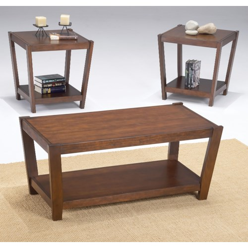 Morris Home Furnishings Sabre 3 Pack Contemporary Wood Occasional Tables