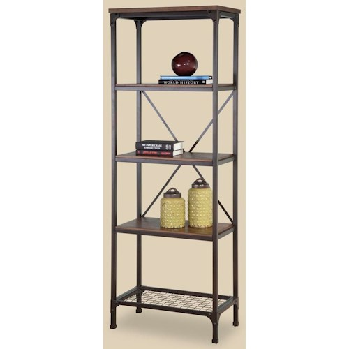 Morris Home Furnishings Stockton Metal and Wood Narrow Bookcase