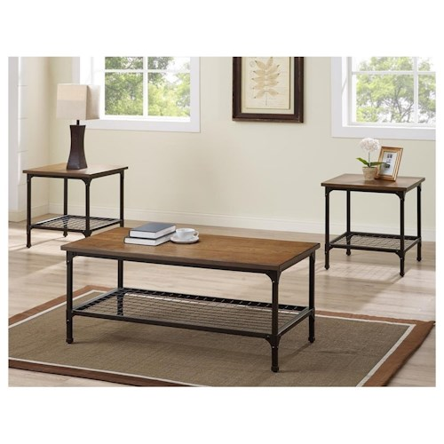 Morris Home Furnishings Stockton Metal and Wood 3-Pack Cocktail Table & 2 End Tables
