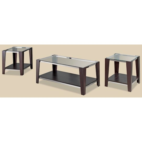Morris Home Furnishings Sylva Contemporary Wood/Glass 3-Pack of Occasional Tables